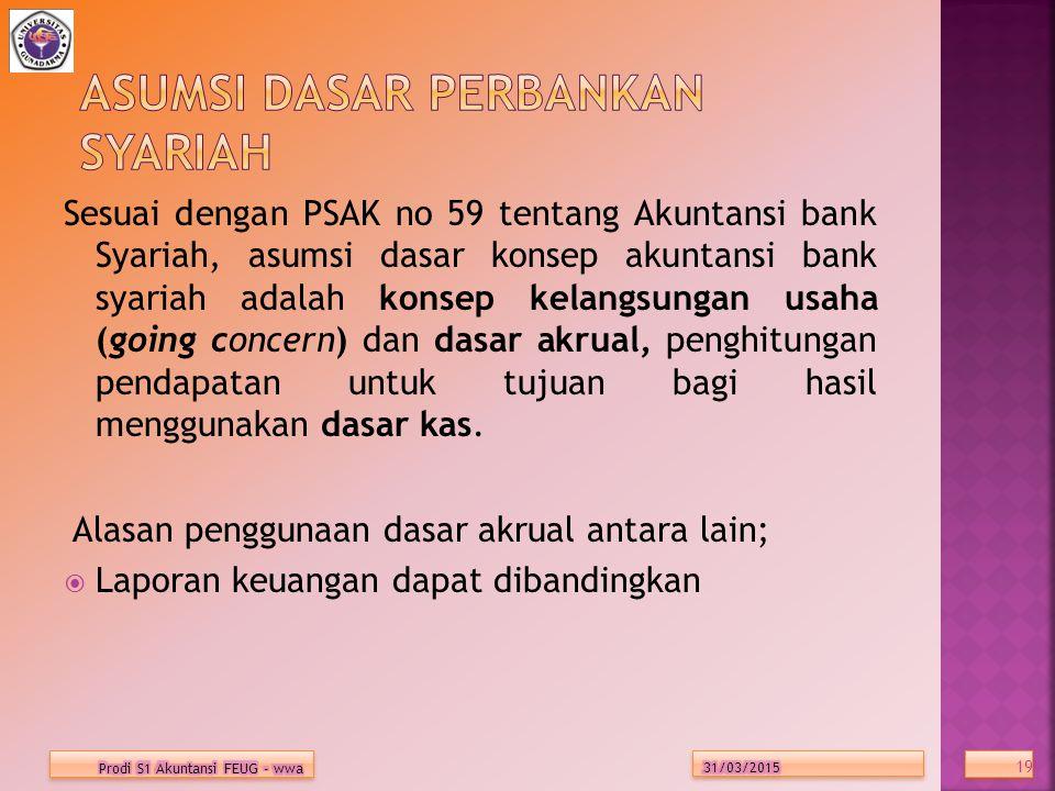 Sesuai dengan PSAK no 59 tentang Akuntansi bank Syariah, asumsi dasar konsep akuntansi bank syariah adalah konsep kelangsungan usaha (going concern) dan dasar akrual, penghitungan pendapatan untuk tujuan bagi hasil menggunakan dasar kas.