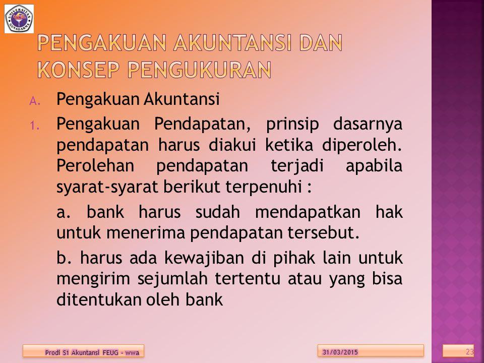 A.Pengakuan Akuntansi 1.
