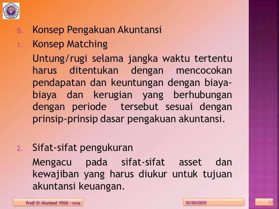 B.Konsep Pengakuan Akuntansi 1.