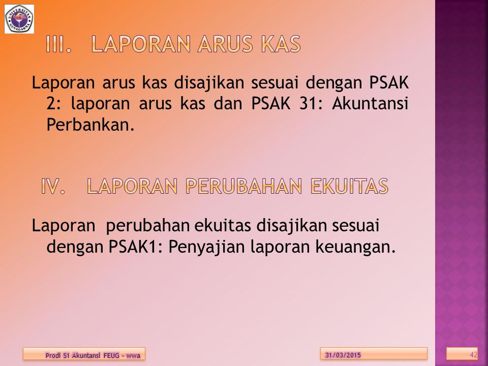 Laporan arus kas disajikan sesuai dengan PSAK 2: laporan arus kas dan PSAK 31: Akuntansi Perbankan.
