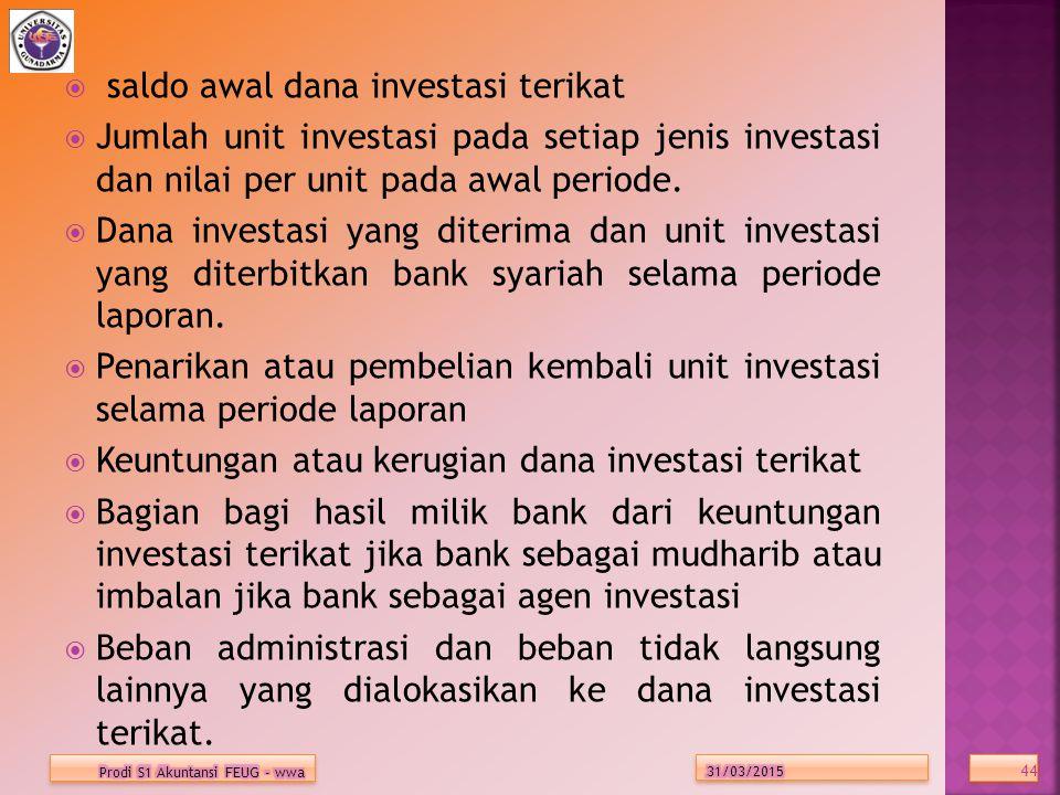  saldo awal dana investasi terikat  Jumlah unit investasi pada setiap jenis investasi dan nilai per unit pada awal periode.