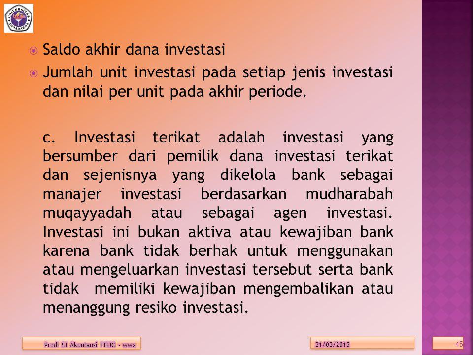  Saldo akhir dana investasi  Jumlah unit investasi pada setiap jenis investasi dan nilai per unit pada akhir periode.