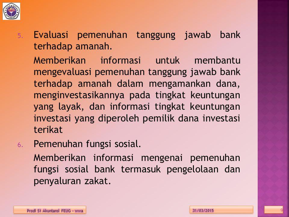 5.Evaluasi pemenuhan tanggung jawab bank terhadap amanah.