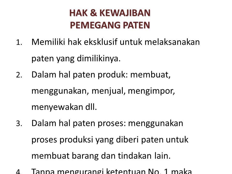 HAK & KEWAJIBAN PEMEGANG PATEN 1. Memiliki hak eksklusif untuk melaksanakan paten yang dimilikinya. 2. Dalam hal paten produk: membuat, menggunakan, m