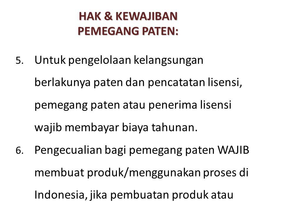HAK & KEWAJIBAN PEMEGANG PATEN: 5. Untuk pengelolaan kelangsungan berlakunya paten dan pencatatan lisensi, pemegang paten atau penerima lisensi wajib