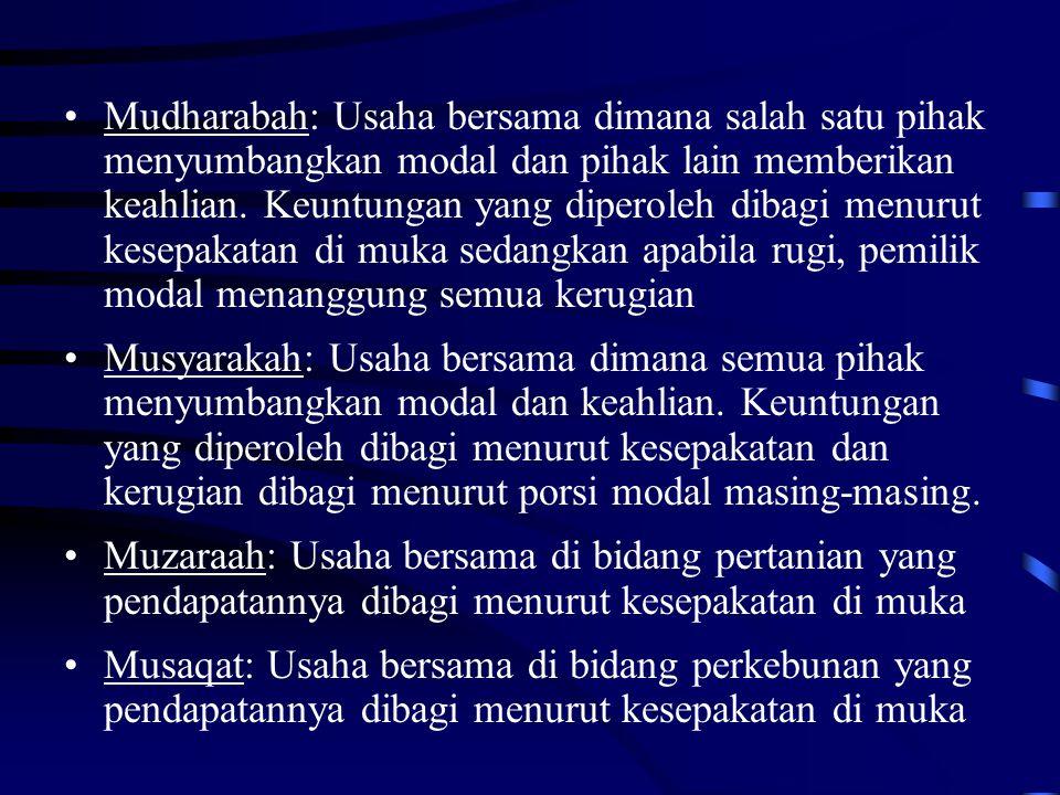 Mudharabah: Usaha bersama dimana salah satu pihak menyumbangkan modal dan pihak lain memberikan keahlian. Keuntungan yang diperoleh dibagi menurut kes
