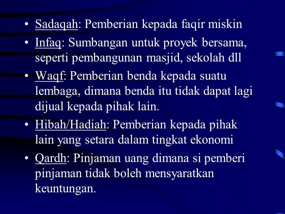 Sadaqah: Pemberian kepada faqir miskin Infaq: Sumbangan untuk proyek bersama, seperti pembangunan masjid, sekolah dll Waqf: Pemberian benda kepada sua