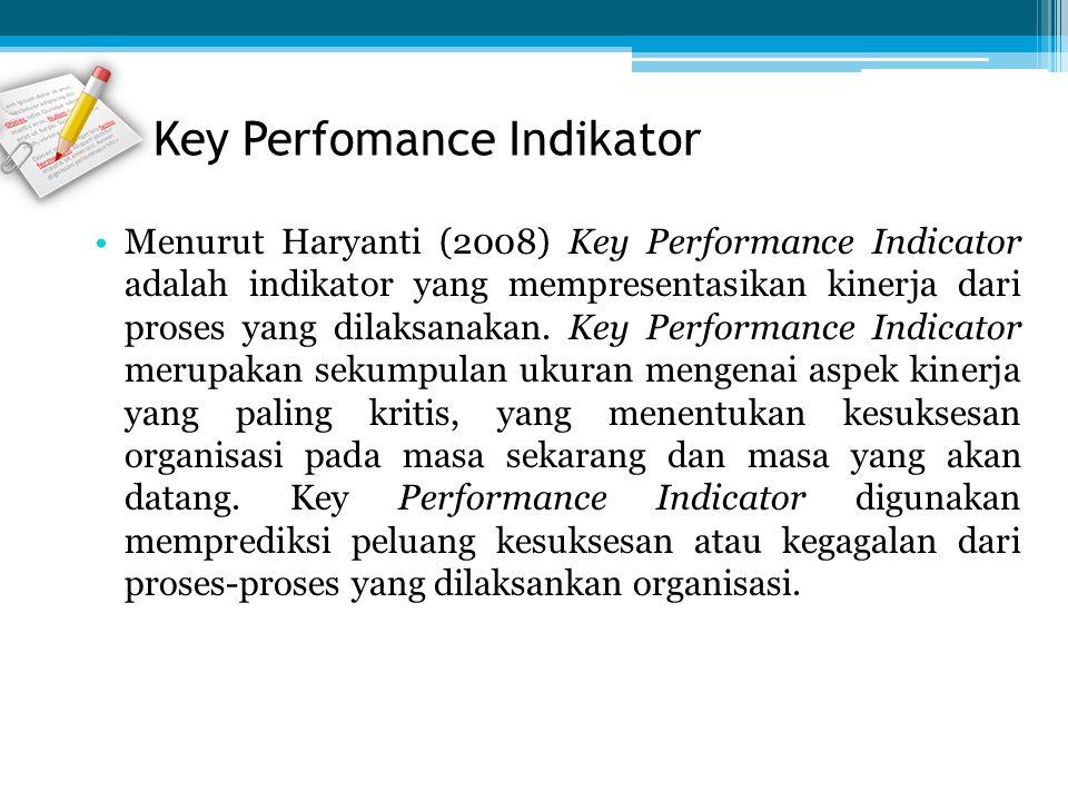 Menurut Haryanti (2008) Key Performance Indicator adalah indikator yang mempresentasikan kinerja dari proses yang dilaksanakan. Key Performance Indica