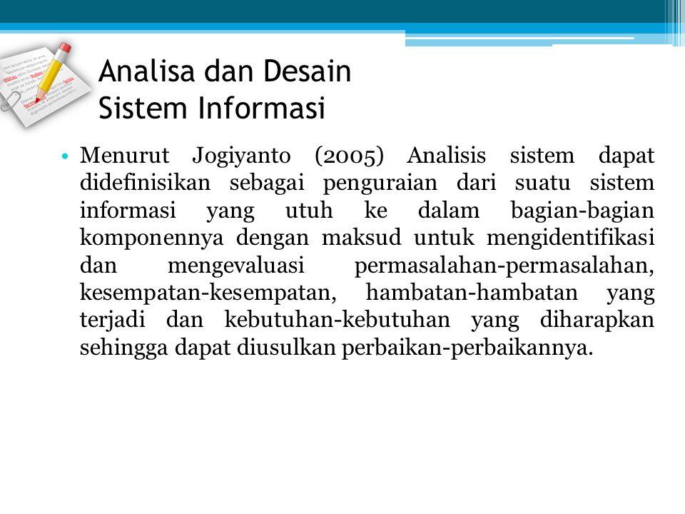 Menurut Jogiyanto (2005) Analisis sistem dapat didefinisikan sebagai penguraian dari suatu sistem informasi yang utuh ke dalam bagian-bagian komponenn