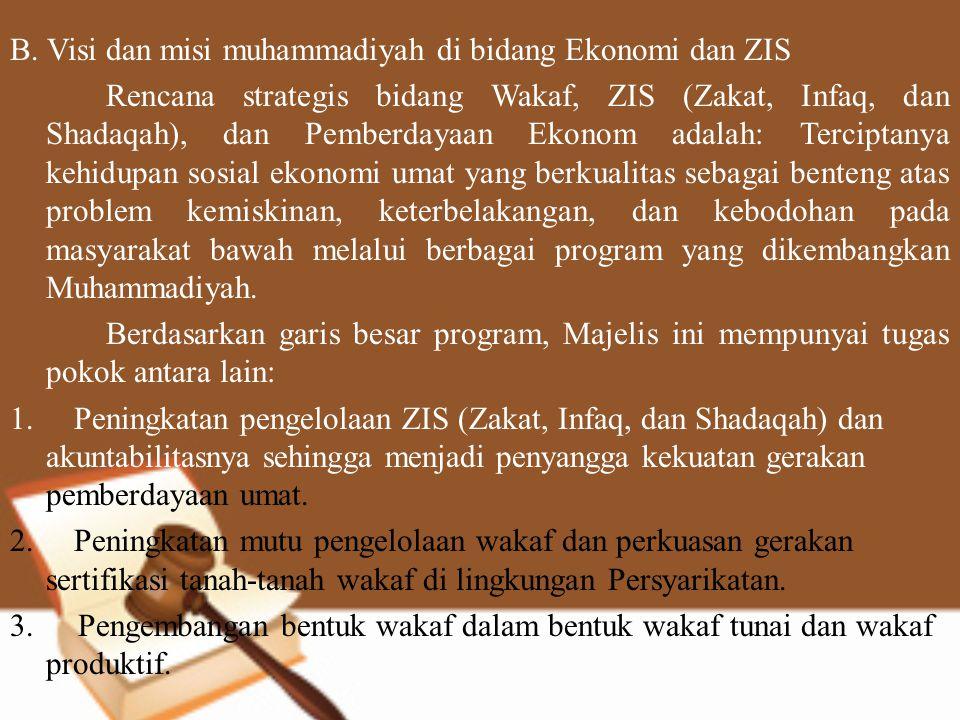B. Visi dan misi muhammadiyah di bidang Ekonomi dan ZIS Rencana strategis bidang Wakaf, ZIS (Zakat, Infaq, dan Shadaqah), dan Pemberdayaan Ekonom adal
