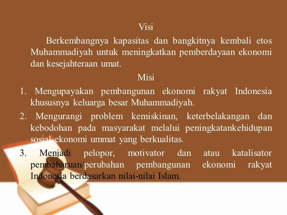 Visi Berkembangnya kapasitas dan bangkitnya kembali etos Muhammadiyah untuk meningkatkan pemberdayaan ekonomi dan kesejahteraan umat. Misi 1. Mengupay