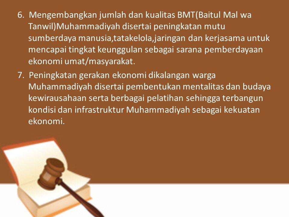 6. Mengembangkan jumlah dan kualitas BMT(Baitul Mal wa Tanwil)Muhammadiyah disertai peningkatan mutu sumberdaya manusia,tatakelola,jaringan dan kerjas