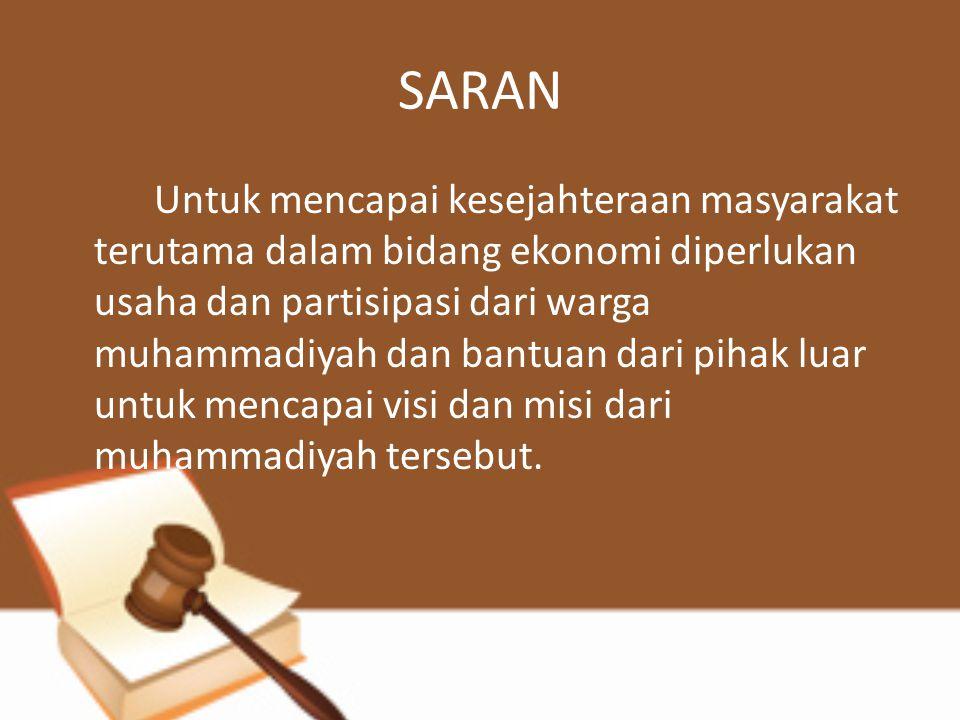 SARAN Untuk mencapai kesejahteraan masyarakat terutama dalam bidang ekonomi diperlukan usaha dan partisipasi dari warga muhammadiyah dan bantuan dari