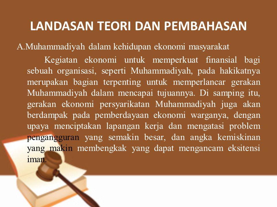 LANDASAN TEORI DAN PEMBAHASAN A.Muhammadiyah dalam kehidupan ekonomi masyarakat Kegiatan ekonomi untuk memperkuat finansial bagi sebuah organisasi, se