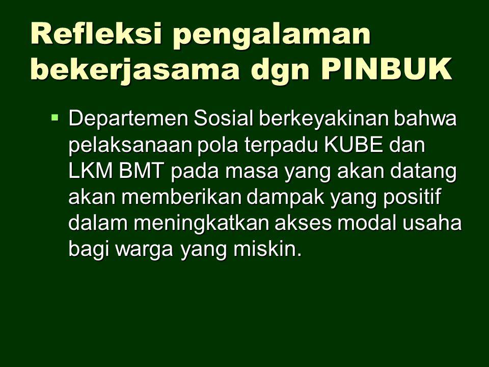 Refleksi pengalaman bekerjasama dgn PINBUK  Departemen Sosial berkeyakinan bahwa pelaksanaan pola terpadu KUBE dan LKM BMT pada masa yang akan datang