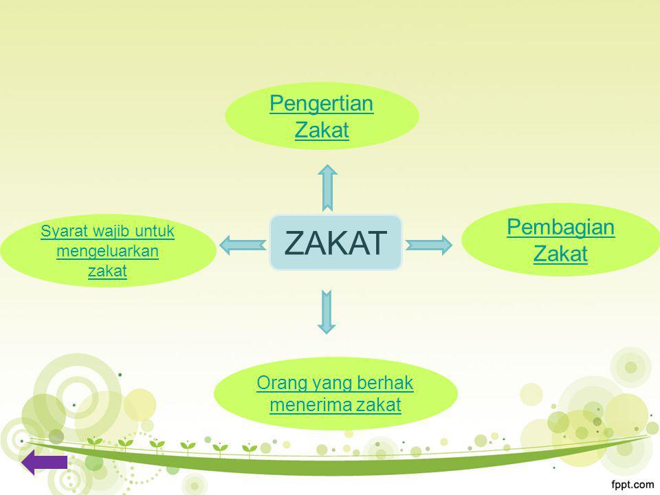 Pengertian Zakat Orang yang berhak menerima zakat Syarat wajib untuk mengeluarkan zakat Pembagian Zakat ZAKAT