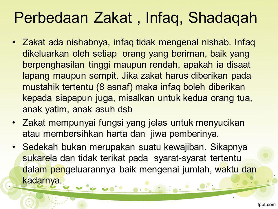 Perbedaan Zakat, Infaq, Shadaqah Zakat ada nishabnya, infaq tidak mengenal nishab.