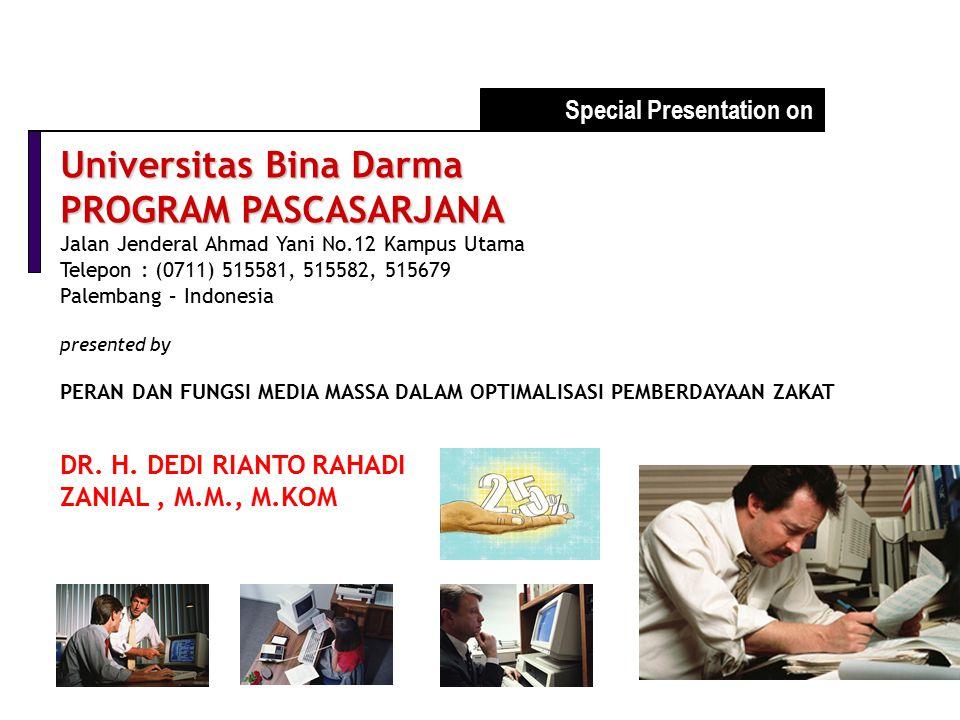 Universitas Bina Darma PROGRAM PASCASARJANA Jalan Jenderal Ahmad Yani No.12 Kampus Utama Telepon : (0711) 515581, 515582, 515679 Palembang – Indonesia
