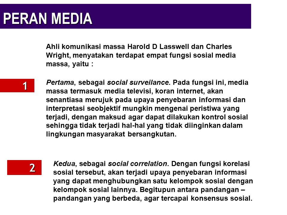 PERAN MEDIA 1 2 Ahli komunikasi massa Harold D Lasswell dan Charles Wright, menyatakan terdapat empat fungsi sosial media massa, yaitu : Pertama, seba