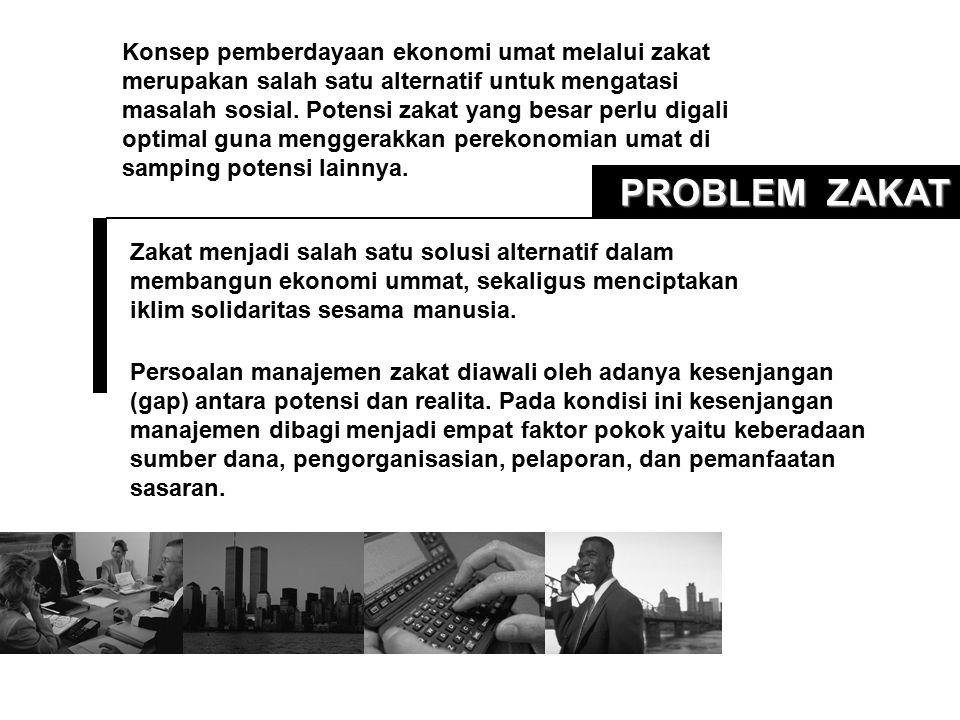 PROBLEM ZAKAT Zakat menjadi salah satu solusi alternatif dalam membangun ekonomi ummat, sekaligus menciptakan iklim solidaritas sesama manusia. Persoa