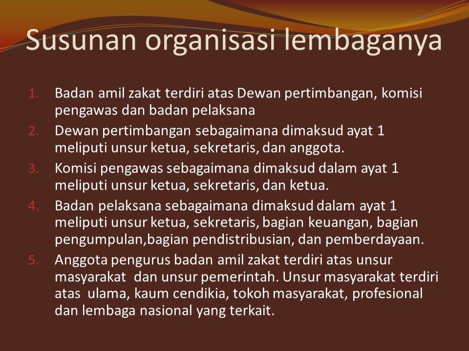 Organisasi lembaga pengelola zakat Undang-undang No. 38 tahun 1999tenntang pengelolaan zakat Bab III pasal 6 dan pasal 7 menyatakan bahwa lembaga peng
