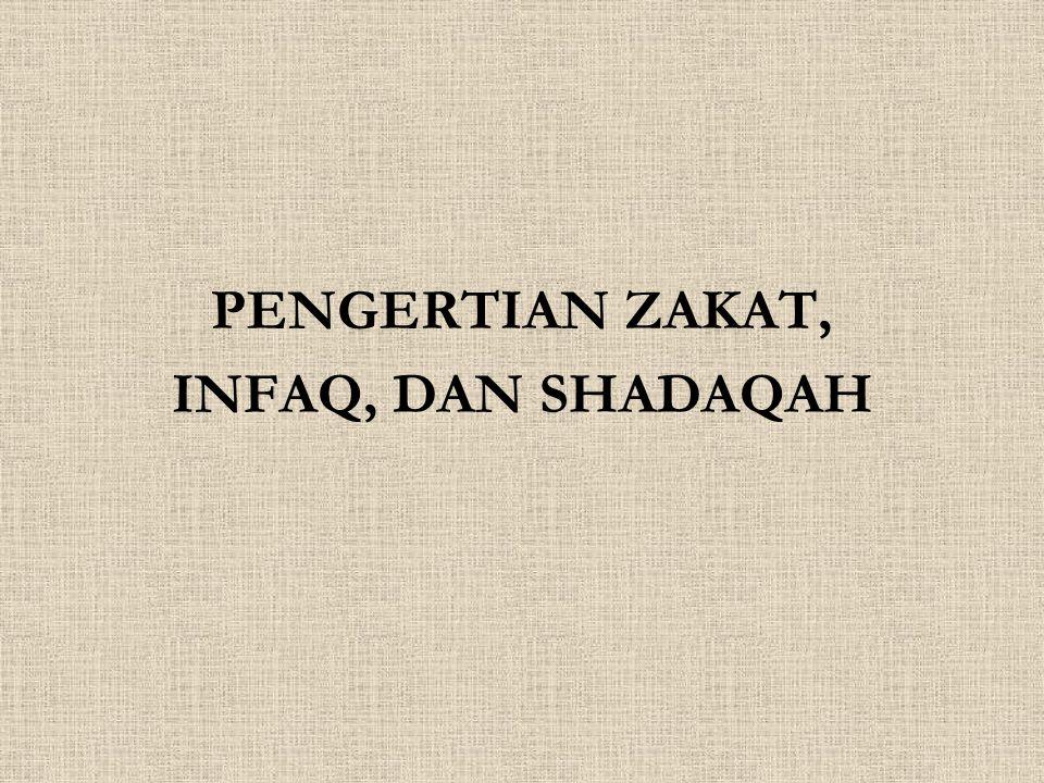 PENGERTIAN ZAKAT, INFAQ, DAN SHADAQAH