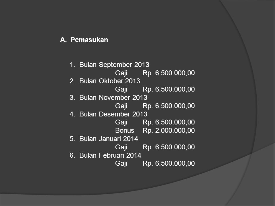 A.Pemasukan 1. Bulan September 2013 Gaji Rp. 6.500.000,00 2. Bulan Oktober 2013 Gaji Rp. 6.500.000,00 3. Bulan November 2013 Gaji Rp. 6.500.000,00 4.