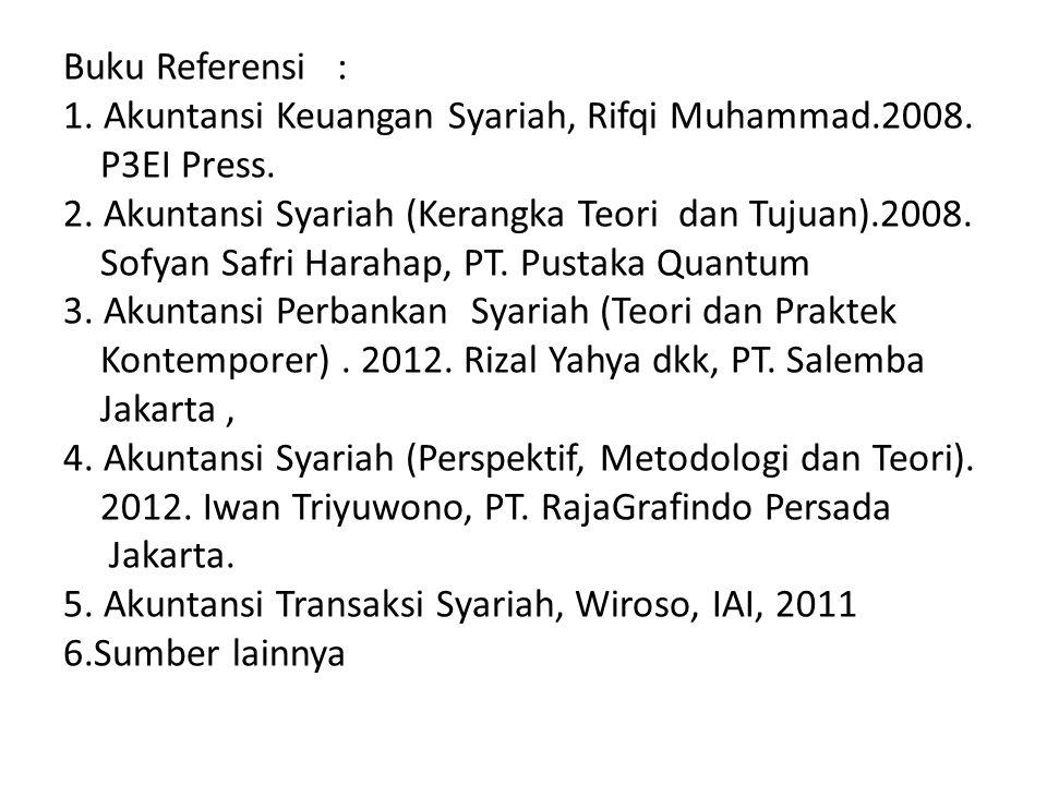 Buku Referensi : 1.Akuntansi Keuangan Syariah, Rifqi Muhammad.2008.