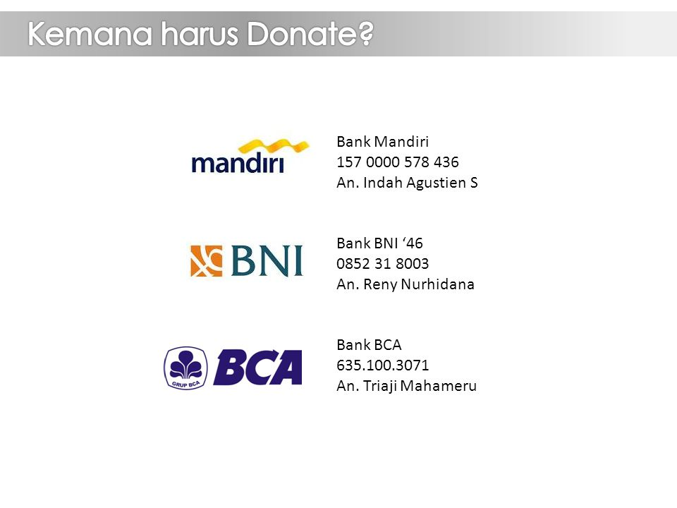 Bank Mandiri 157 0000 578 436 An. Indah Agustien S Bank BNI '46 0852 31 8003 An.