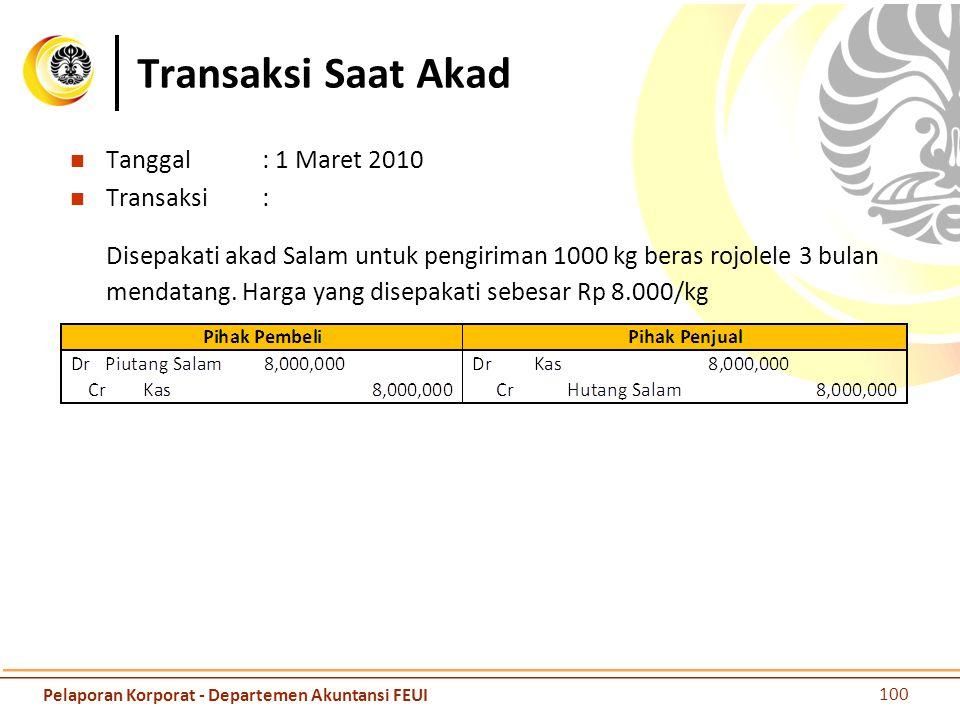 Transaksi Saat Akad Tanggal: 1 Maret 2010 Transaksi: Disepakati akad Salam untuk pengiriman 1000 kg beras rojolele 3 bulan mendatang. Harga yang disep