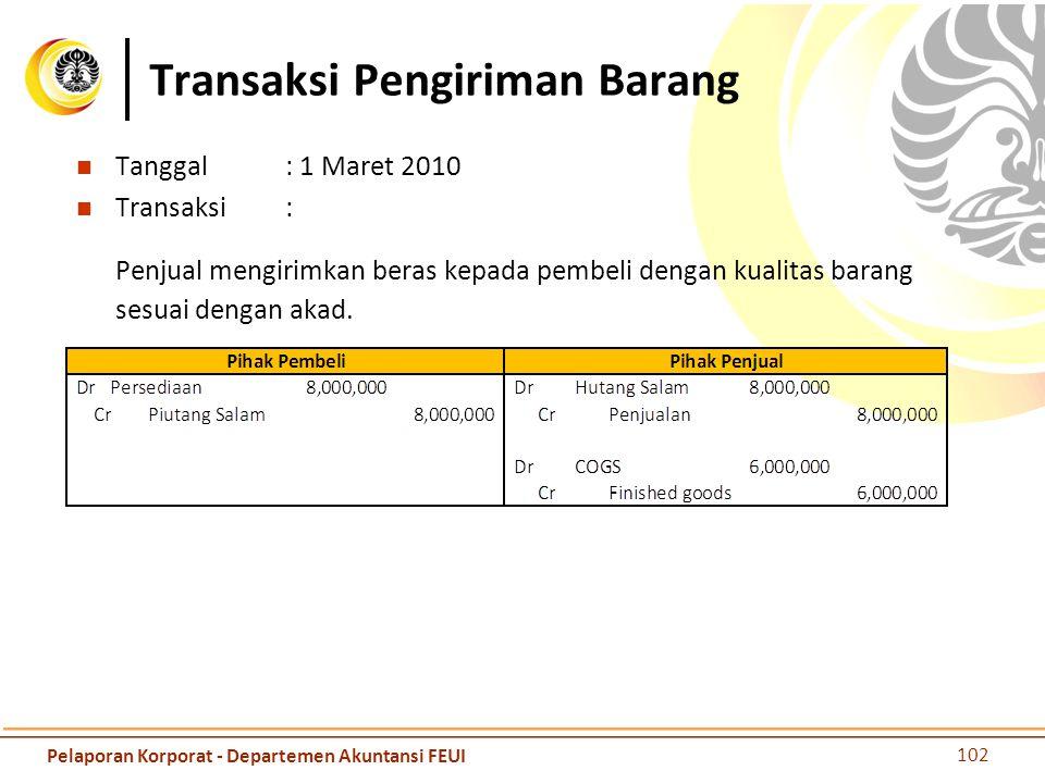 Transaksi Pengiriman Barang Tanggal: 1 Maret 2010 Transaksi: Penjual mengirimkan beras kepada pembeli dengan kualitas barang sesuai dengan akad. 102 P