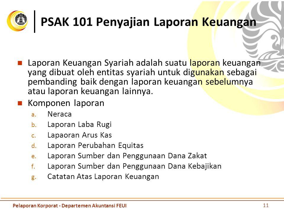 PSAK 101 Penyajian Laporan Keuangan Laporan Keuangan Syariah adalah suatu laporan keuangan yang dibuat oleh entitas syariah untuk digunakan sebagai pe