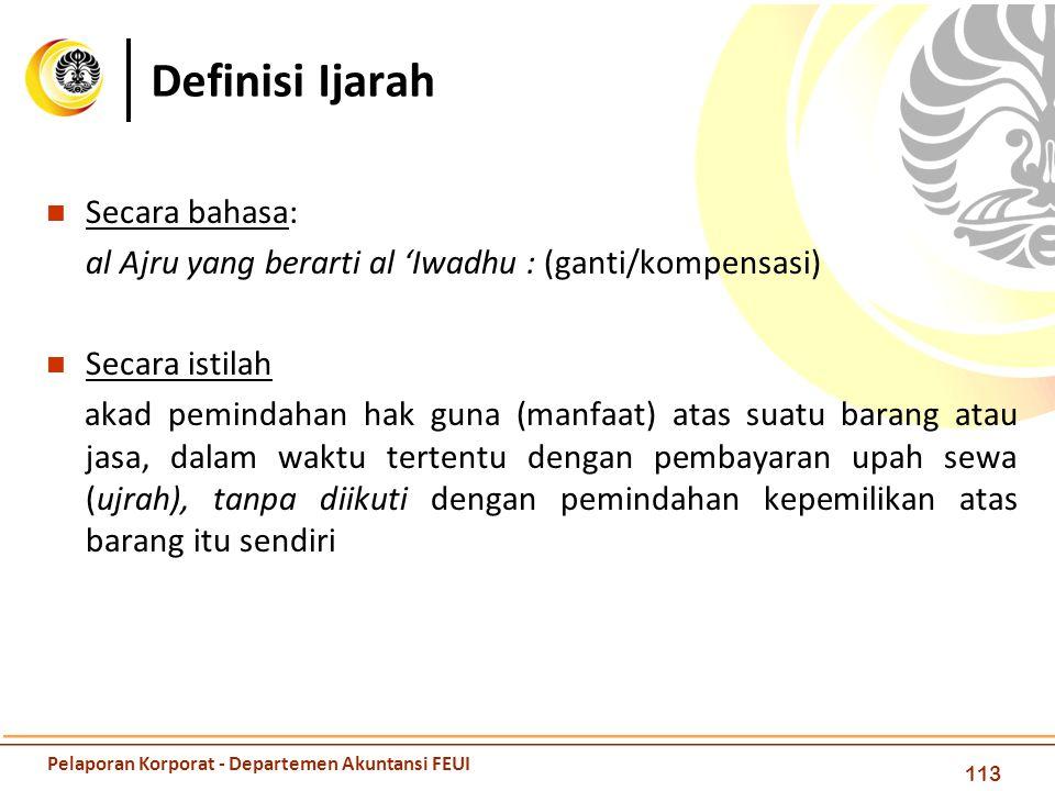 Definisi Ijarah 113 Secara bahasa: al Ajru yang berarti al 'Iwadhu : (ganti/kompensasi) Secara istilah akad pemindahan hak guna (manfaat) atas suatu b