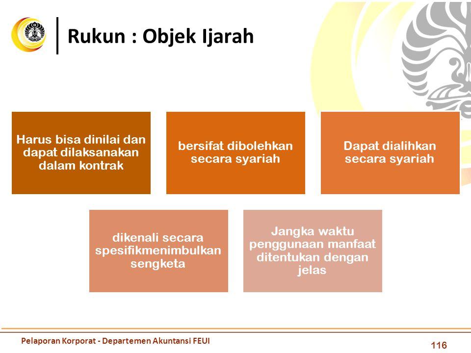 Rukun : Objek Ijarah 116 Harus bisa dinilai dan dapat dilaksanakan dalam kontrak bersifat dibolehkan secara syariah Dapat dialihkan secara syariah dik