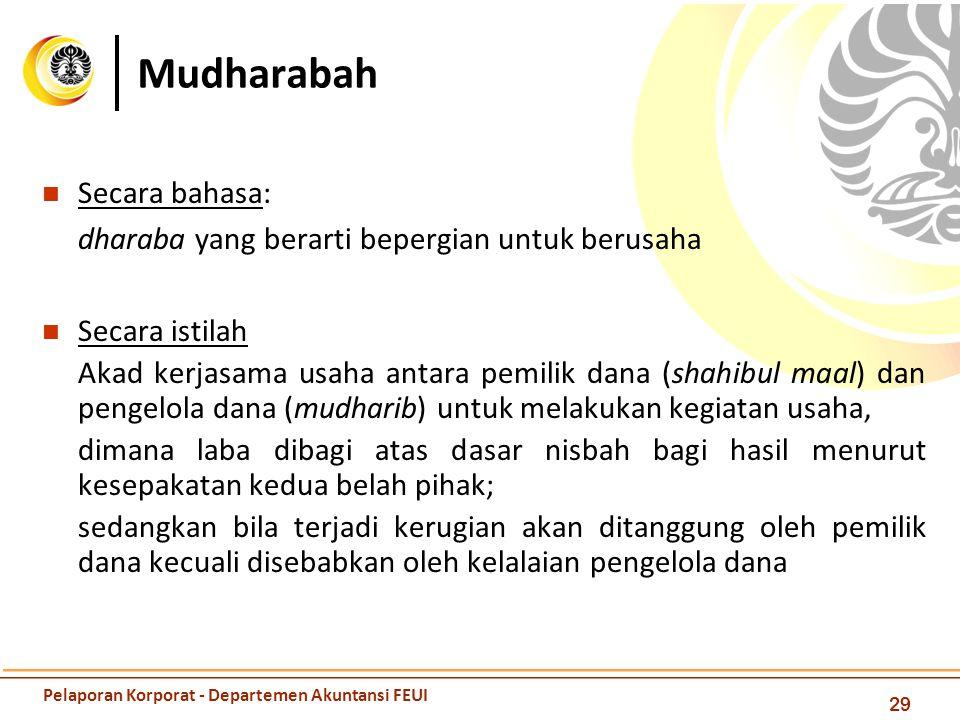 Mudharabah 29 Secara bahasa: dharaba yang berarti bepergian untuk berusaha Secara istilah Akad kerjasama usaha antara pemilik dana (shahibul maal) dan