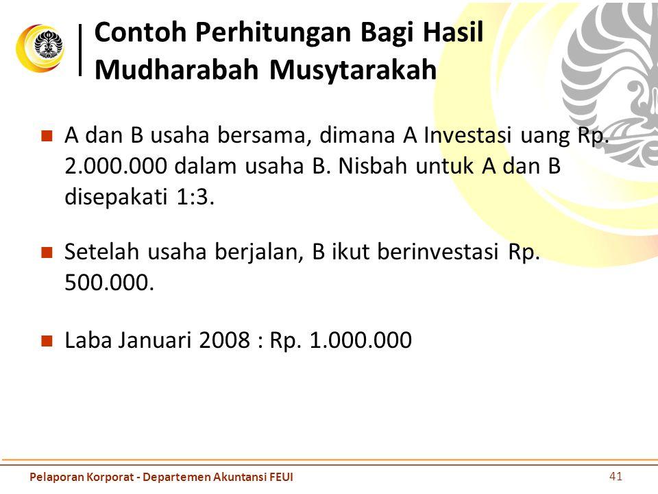 Contoh Perhitungan Bagi Hasil Mudharabah Musytarakah A dan B usaha bersama, dimana A Investasi uang Rp. 2.000.000 dalam usaha B. Nisbah untuk A dan B