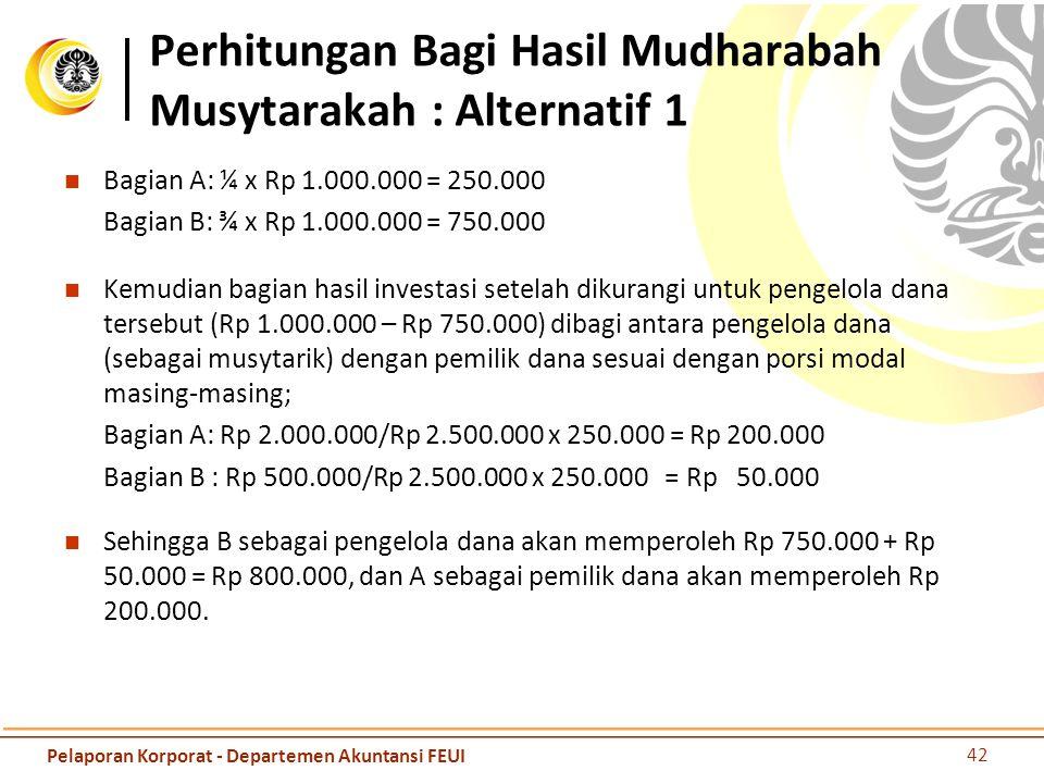 Perhitungan Bagi Hasil Mudharabah Musytarakah : Alternatif 1 Bagian A: ¼ x Rp 1.000.000 = 250.000 Bagian B: ¾ x Rp 1.000.000 = 750.000 Kemudian bagian