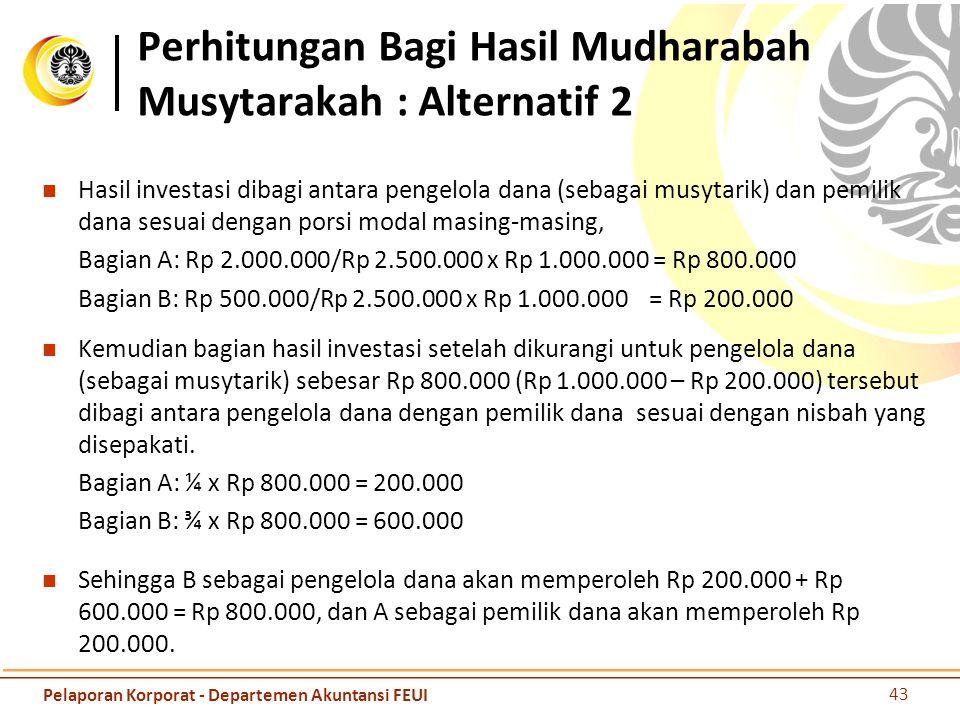 Perhitungan Bagi Hasil Mudharabah Musytarakah : Alternatif 2 Hasil investasi dibagi antara pengelola dana (sebagai musytarik) dan pemilik dana sesuai