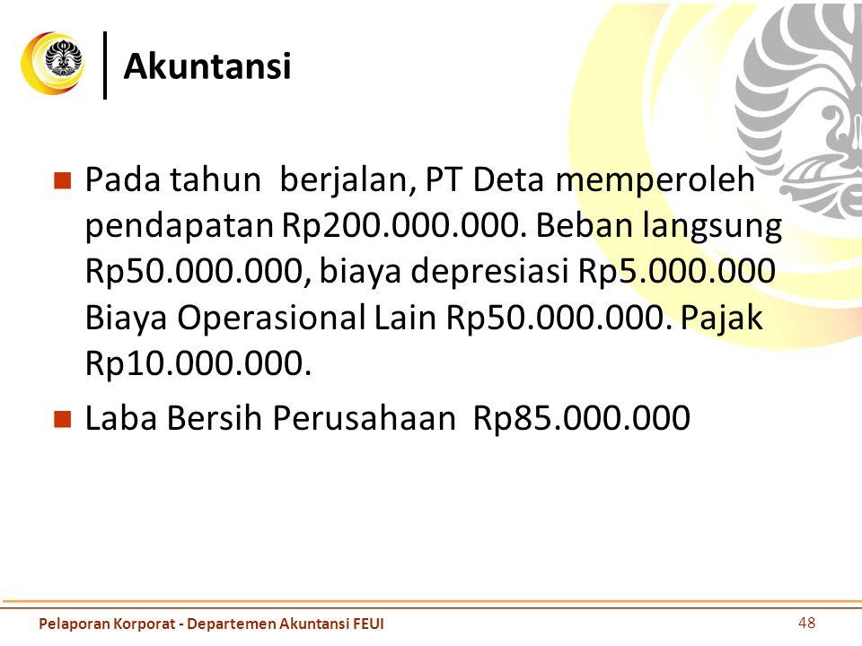 Akuntansi Pada tahun berjalan, PT Deta memperoleh pendapatan Rp200.000.000. Beban langsung Rp50.000.000, biaya depresiasi Rp5.000.000 Biaya Operasiona
