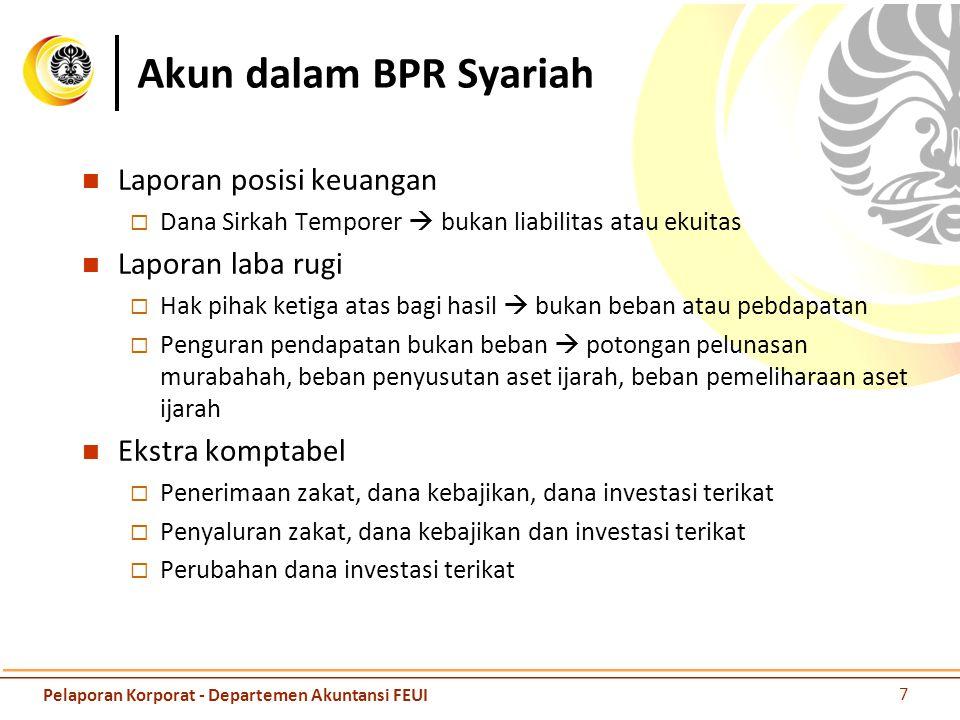 Akun dalam BPR Syariah Laporan posisi keuangan  Dana Sirkah Temporer  bukan liabilitas atau ekuitas Laporan laba rugi  Hak pihak ketiga atas bagi h