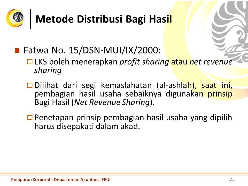 Metode Distribusi Bagi Hasil Fatwa No. 15/DSN-MUI/IX/2000:  LKS boleh menerapkan profit sharing atau net revenue sharing  Dilihat dari segi kemaslah