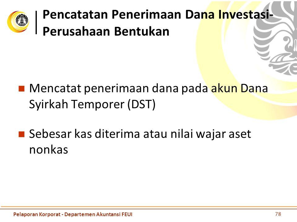 Pencatatan Penerimaan Dana Investasi- Perusahaan Bentukan Mencatat penerimaan dana pada akun Dana Syirkah Temporer (DST) Sebesar kas diterima atau nil