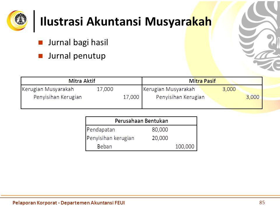 Ilustrasi Akuntansi Musyarakah Jurnal bagi hasil Jurnal penutup 85 Pelaporan Korporat - Departemen Akuntansi FEUI