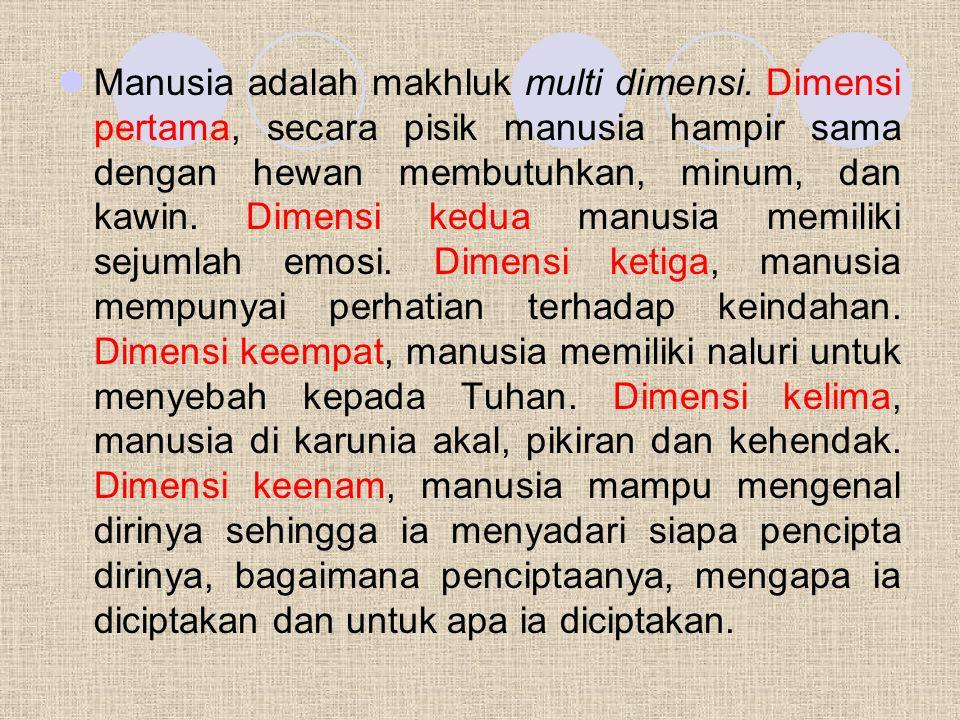 Manusia adalah makhluk multi dimensi.