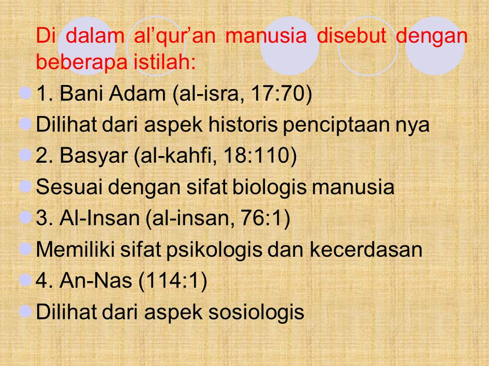 Di dalam al'qur'an manusia disebut dengan beberapa istilah: 1. Bani Adam (al-isra, 17:70) Dilihat dari aspek historis penciptaan nya 2. Basyar (al-kah