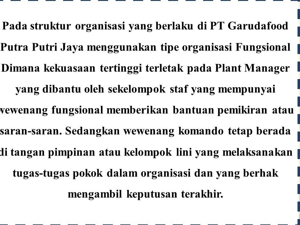 Analisis Bagan dan Struktur Organisasi Industri Makanan PT Garudafood Putra Putri Jaya