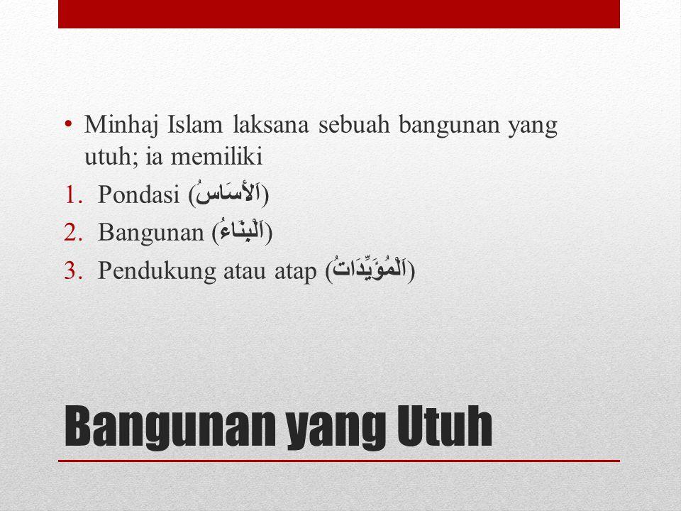 Bangunan yang Utuh Minhaj Islam laksana sebuah bangunan yang utuh; ia memiliki 1.Pondasi ( اَلأَسَاسُ ) 2.Bangunan ( اَلْبِنَاءُ ) 3.Pendukung atau at