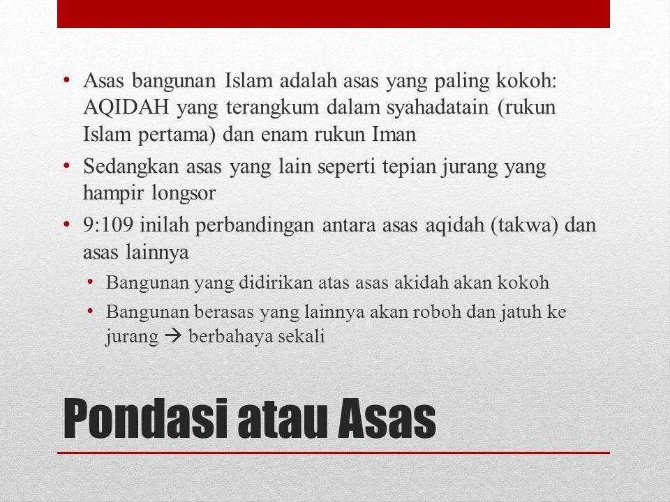Pondasi atau Asas Asas bangunan Islam adalah asas yang paling kokoh: AQIDAH yang terangkum dalam syahadatain (rukun Islam pertama) dan enam rukun Iman