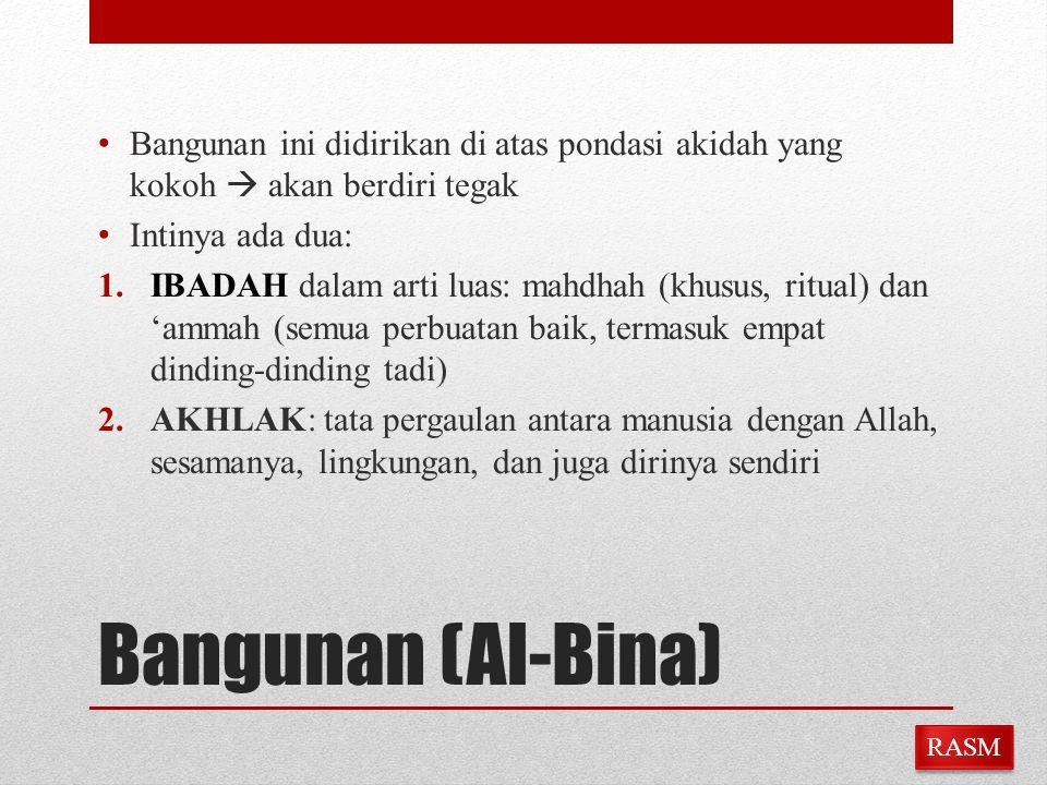Bangunan (Al-Bina) Bangunan ini didirikan di atas pondasi akidah yang kokoh  akan berdiri tegak Intinya ada dua: 1.IBADAH dalam arti luas: mahdhah (k