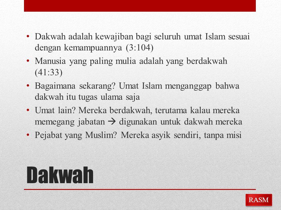 Dakwah Dakwah adalah kewajiban bagi seluruh umat Islam sesuai dengan kemampuannya (3:104) Manusia yang paling mulia adalah yang berdakwah (41:33) Baga